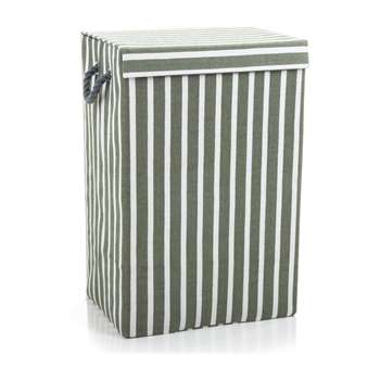 Minky Stripe Laundry Hamper - Grey 60 x 40cm