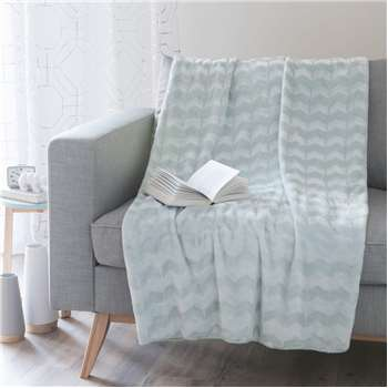 MINT blue faux fur throw (150 x 230cm)