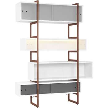 Mio Bookcase & Storage Unit with Sliding Doors 219 x 138cm