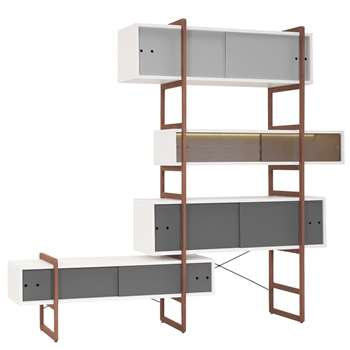 Mio Bookcase & TV Cabinet with Sliding Doors 219 x 196cm