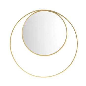 MIRADA Round Mirror with Gold Metal Double Frame (Diameter 90cm)