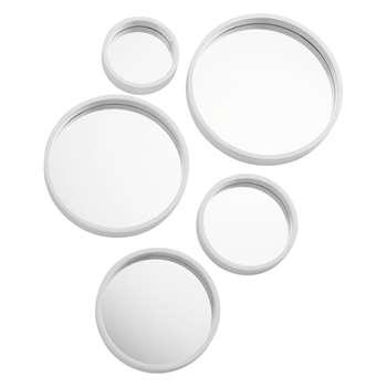 Mirror Mirror Set of 5 white round mirrors (Diameter 22.5cm)
