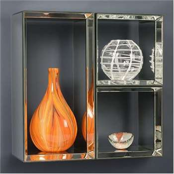 Mirrored Wall Shelves - Uno- 2 Square & 1 Rectangle
