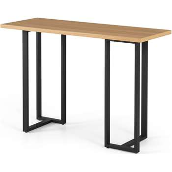 Miru Console Desk, Oak and Black (H76 x W110 x D45cm)