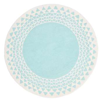MissPrint Navajo Children's Rug, Teal (Diameter 100cm)