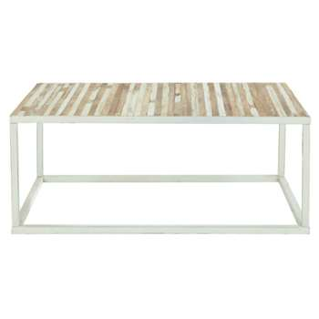 MISTRAL Metal and wood coffee table in white (40 x 100cm)