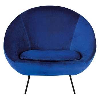 Misty Cobalt Blue Velvet Armchair (H86 x W105 x D72cm)
