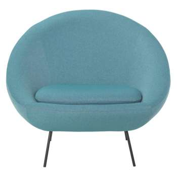 Misty Teal blue fabric armchair