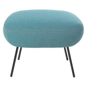 Misty Teal blue fabric footstool
