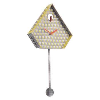 Miu Yellow patterned cuckoo wall clock 49.5 x 25.5cm