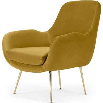 Moby Accent Armchair, Vintage Gold Velvet with Brass Leg (H87 x W73 x D76cm)
