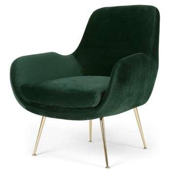 Moby Accent Armchair, Pine Green Velvet (H87 x W73 x D76cm)