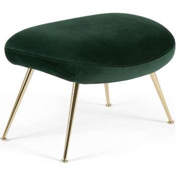 Moby Footstool, Pine Green Velvet (H42 x W58 x D47cm)