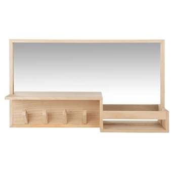 MODDY - Mirror with Shelf and 4 Hooks 60x35 (H35 x W60 x D10cm)