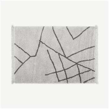 Moesha Berber-Style Rug, Off White & Charcoal Grey (H160 x W230cm)
