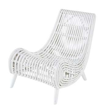 MOHI - White Woven Rattan and Mahogany Armchair (H77 x W72 x D96cm)