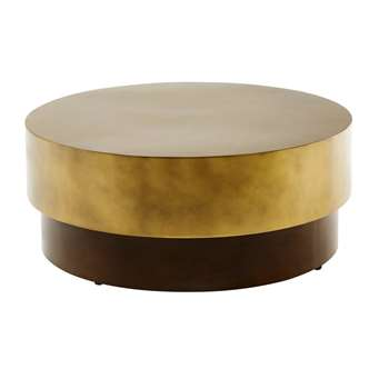 MOKA Brown and Gold Metal Round Coffee Table (38 x 91cm)