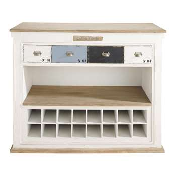 MOLENE Distressed wood bar unit with drawers in white (105 x 129cm)