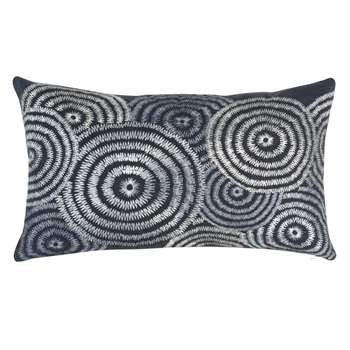 MOLENTJE - Black and Ecru Cotton Cushion Cover with Print (H30 x W50cm)