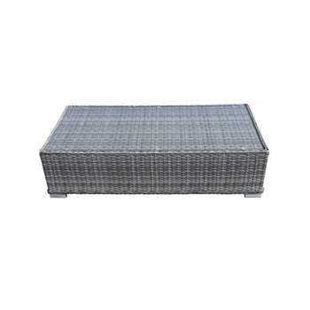 Monaco Rattan Garden Ottoman Coffee Table in Grey (31 x 127cm)