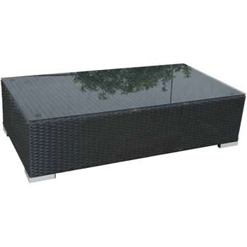 Monaco Rattan Garden Rectangular Ottoman/Coffee Table in Black & Vanilla (31 x 128cm)