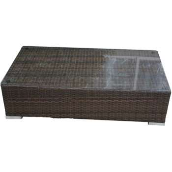 Monaco Rattan Garden Rectangular Ottoman/Coffee Table in Chocolate & Cream (31 x 128cm)