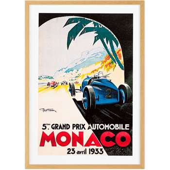 Monaco Vintage Travel Framed Wall Art Print (More Sizes Available) (H46 x W34 x D2cm)