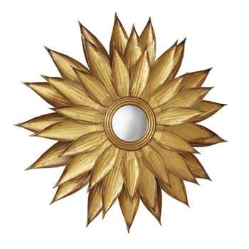 MONIKA - Round Convex Mirror with Gold Metal Leaves (H86 x W86 x D6cm)
