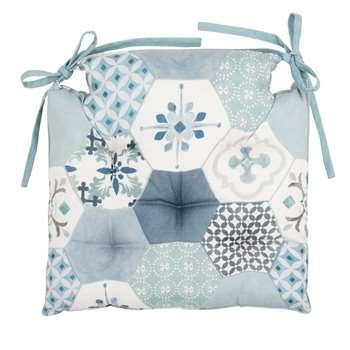 MONIQUE - Chair Cushion with Blue, Grey, Ecru and Purple Cement Tile Motifs (H40 x W40cm)