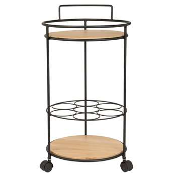 MONTALIVET - Round Metal and Paulownia Trolley (H60 x W37 x D37cm)
