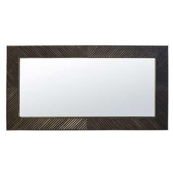 MONTANA - Carved Dark Mango Wood Mirror (H160 x W85 x D3cm)