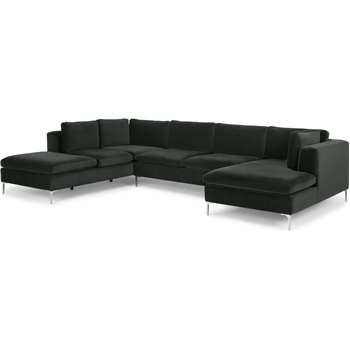 Monterosso Left Hand Facing Corner Sofa, Dark Anthracite Velvet (H80 x W351 x D230cm)