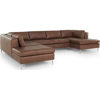 Monterosso Left Hand Facing Corner Sofa, Walnut Brown Leather (H76 x W344 x D227cm)
