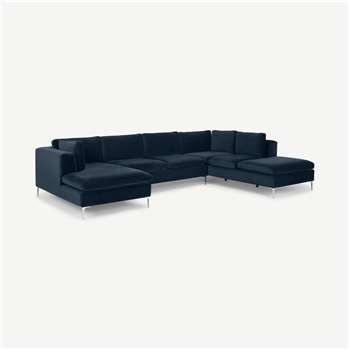 Monterosso Right Hand Facing Corner Sofa, Sapphire Blue Velvet (H80 x W351 x D230cm)