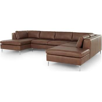 Monterosso Right Hand Facing Corner Sofa, Walnut Brown Leather (H76 x W344 x D227cm)
