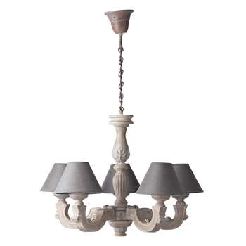 MONTMARTRE wooden 5 branch chandelier in grey D 67cm
