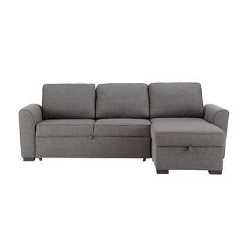 MONTRÉAL 3/4 seater fabric corner sofa bed in grey (88 x 238cm)