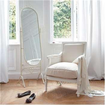 MONTSÉGUR metal cheval mirror in white H 167cm