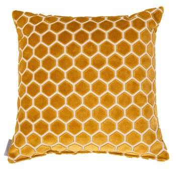 Monty Honeycomb Cushion in Mustard Yellow (45 x 45cm)