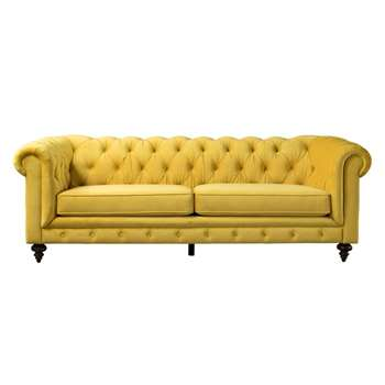 Monty Three Seat Sofa – Mustard (H80 x W235 x D99cm)