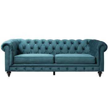Monty Three Seat Sofa – Peacock (H80 x W235 x D99cm)