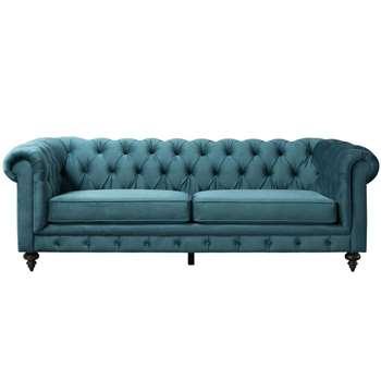Monty Three Seat Sofa – Peacock (H80 x W235 x D99cm)