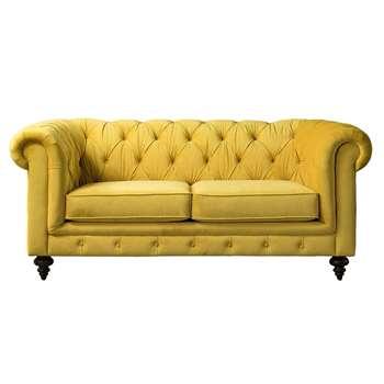 Monty Two Seat Sofa – Mustard (H80 x W185 x D99cm)