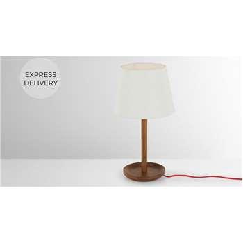 Moore Table Light, Dark Wood & White (H46 x W25 x D25cm)