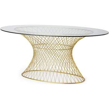 Mora 6 Seat Fixed Oval Dining Table, Glass & Brass (H75 x W117 x D180cm)