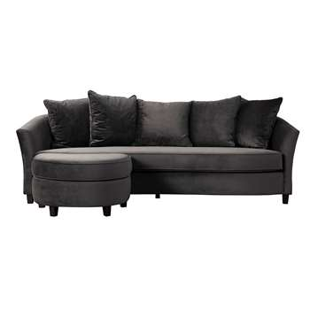 Morgan Three Seat Corner Sofa - Carbon (H74 x W231 x D100cm)
