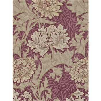 Morris & Co. Chrysanthemum Wallpaper, Wine, 212548