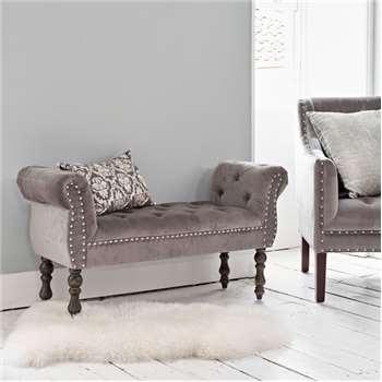 Morris Grey Velvet Bench (H62 x W116 x D39cm)