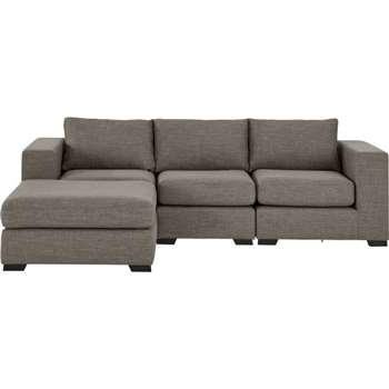Mortimer 4 Seater Modular Corner Sofa, Chalk Grey (84 x 258cm)