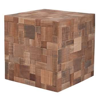 Mosaic Wooden Cube Table in Recycled Teak & Acacia Wood (40 x 40cm)